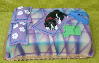 Hannah's cake with Bean on bed_5480