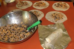 making burritos