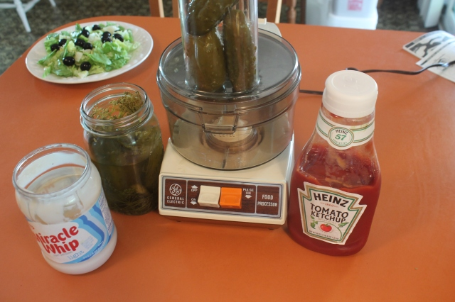 just Miracle Whip, Catsup and home made dill pickles