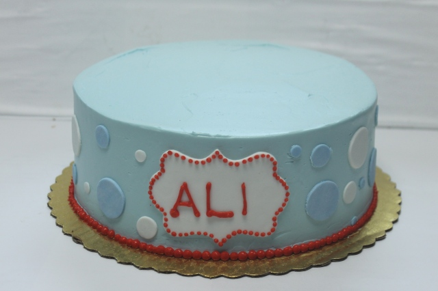 "10"" cake with polka dots & name"