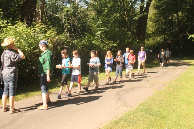 A short trail from the school brought students to the starting point of out game
