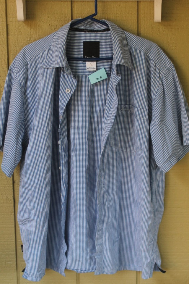 blue gingham shirt 55cents 1-23-16 SVdP