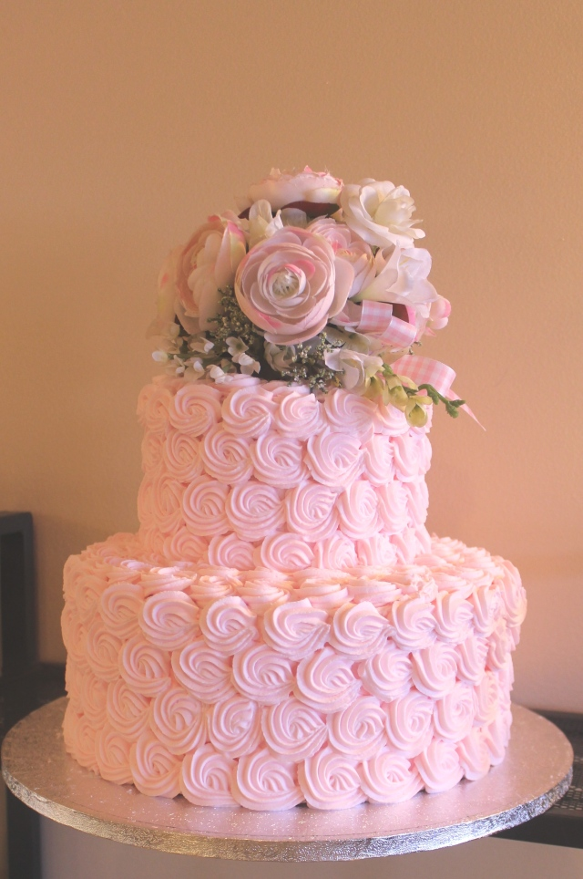 pink rosette cake dummy