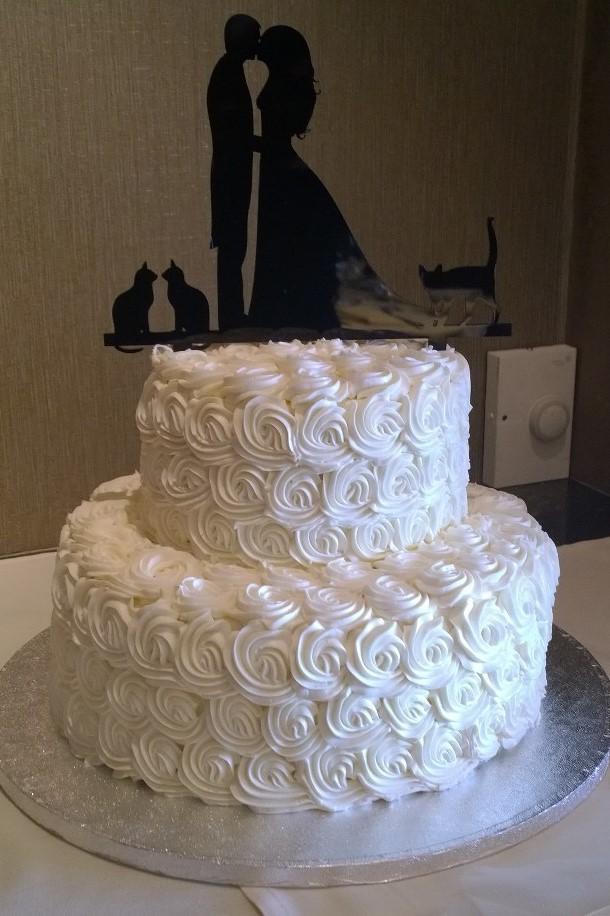 white rosette cake